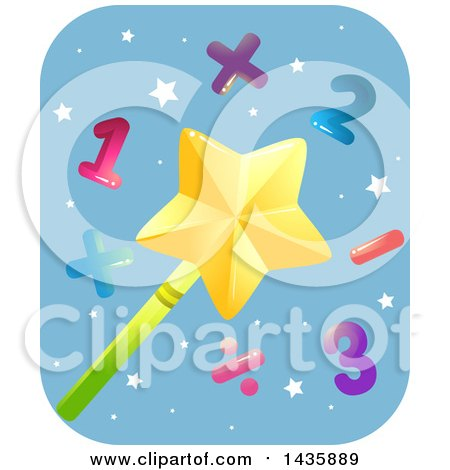 Clipart of a Star Magic Wand with Numbers and Math Symbols - Royalty Free Vector Illustration by BNP Design Studio