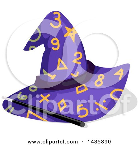 Clipart of a Magic Wand and Wizard Hat with Match Numbers and Symbols - Royalty Free Vector Illustration by BNP Design Studio