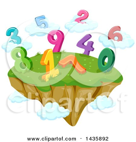 Clipart of a Floating Island with Numbers and Clouds - Royalty Free Vector Illustration by BNP Design Studio