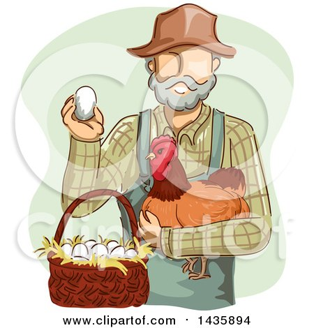 Clipart of a Sketched White Male Farmer in Overalls, Holding a Chicken and Egg by a Basket - Royalty Free Vector Illustration by BNP Design Studio