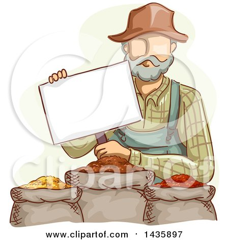 Clipart of a Sketched White Male Farmer in Overalls, Holding a Sign over Grains - Royalty Free Vector Illustration by BNP Design Studio