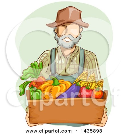 Clipart of a Sketched White Male Farmer in Overalls, Carrying a Box of Produce - Royalty Free Vector Illustration by BNP Design Studio