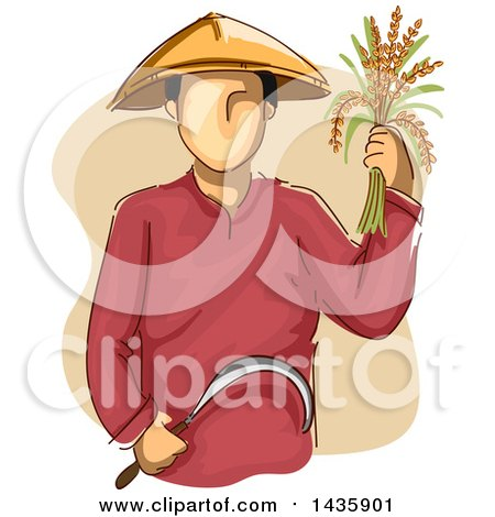 Clipart of a Sketched Male Farmer Wearing a Conical Hat, Holding Rice and a Sickle - Royalty Free Vector Illustration by BNP Design Studio