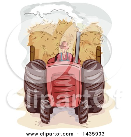 Clipart of a Sketched Male Farmer Pulling Hay with a Tractor - Royalty Free Vector Illustration by BNP Design Studio