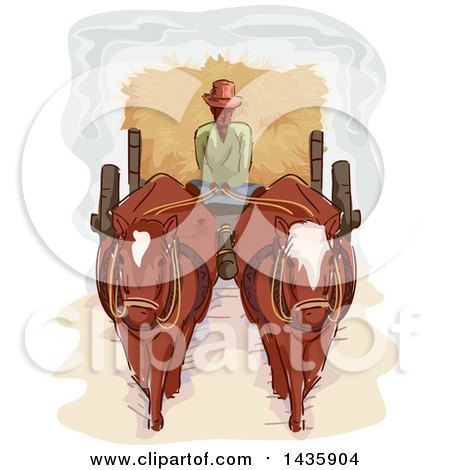 Clipart of a Sketched Male Farmer Driving a Horse Cart Full of Hay - Royalty Free Vector Illustration by BNP Design Studio
