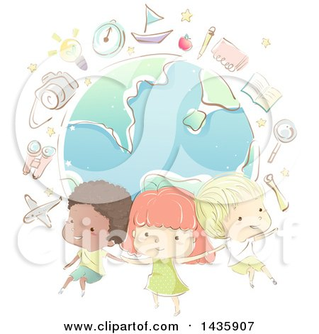 Clipart of Sketched School Children over a Globe with School Icons - Royalty Free Vector Illustration by BNP Design Studio