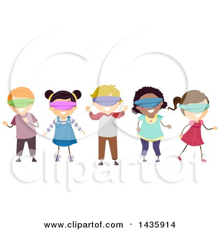 Clipart of School Children Wearing Blindfolds - Royalty Free Vector Illustration by BNP Design Studio