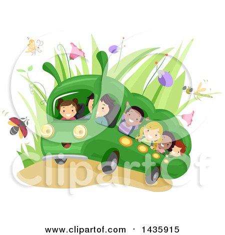 Clipart of School Children Riding a Caterpillar Bus - Royalty Free Vector Illustration by BNP Design Studio
