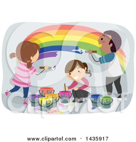 Clipart of School Children Painting a Rainbow - Royalty Free Vector Illustration by BNP Design Studio
