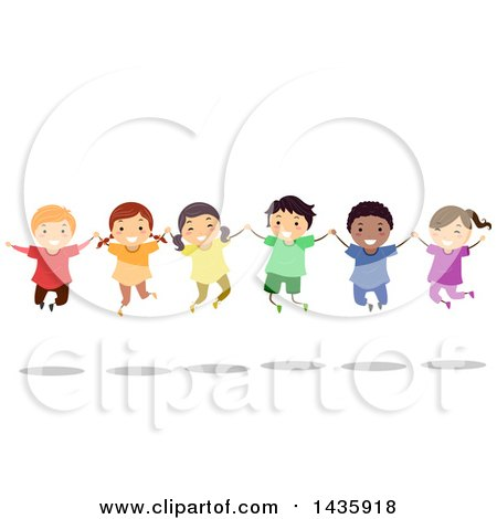 Clipart of School Children Holding Hands and Jumping - Royalty Free Vector Illustration by BNP Design Studio