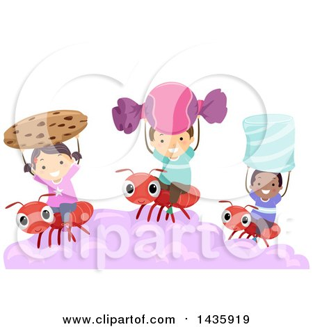 Clipart of School Children Holding up Sweets and Riding on Ants - Royalty Free Vector Illustration by BNP Design Studio