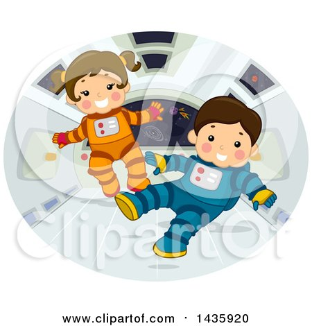 Clipart of Astronaut School Children Floating in Zero Gravity - Royalty Free Vector Illustration by BNP Design Studio