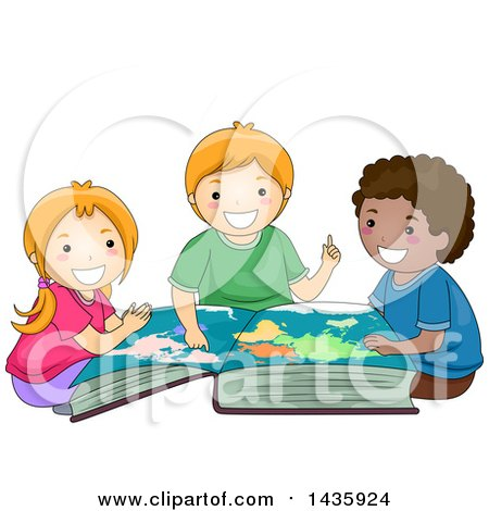 Clipart of School Children Studying a World Map in a Book - Royalty Free Vector Illustration by BNP Design Studio