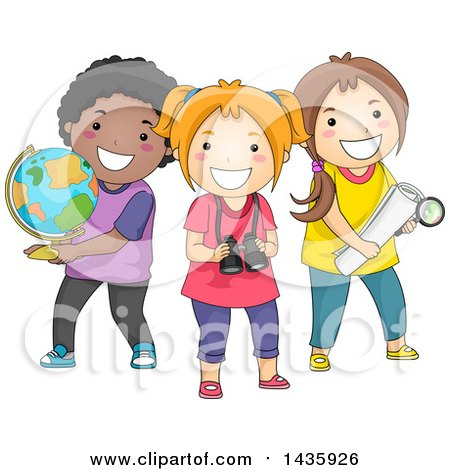 Clipart of School Children with a Globe, Binoculars and Map - Royalty Free Vector Illustration by BNP Design Studio