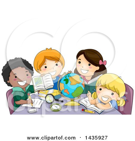 Clipart of School Children Studying in Geography Class - Royalty Free Vector Illustration by BNP Design Studio
