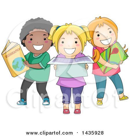 Clipart of School Children with Geographical References - Royalty Free Vector Illustration by BNP Design Studio