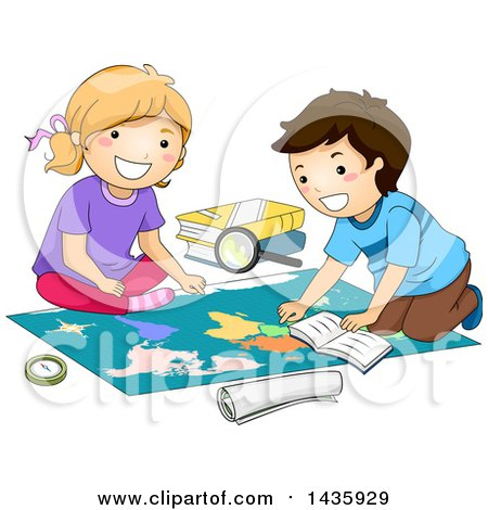 Clipart of School Children Studying a Map - Royalty Free Vector Illustration by BNP Design Studio