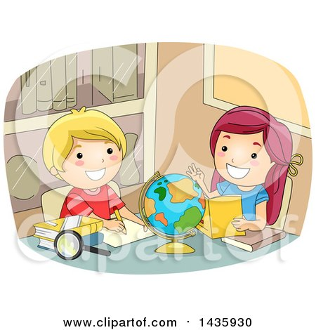 Clipart of School Children Studying a Desk Globe - Royalty Free Vector Illustration by BNP Design Studio