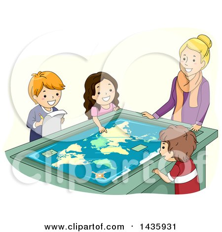 Clipart of School Children and Teacher Studying an Interactive Table Map - Royalty Free Vector Illustration by BNP Design Studio