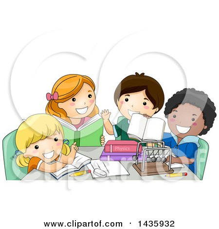 Clipart of School Children Studying Physics - Royalty Free Vector Illustration by BNP Design Studio