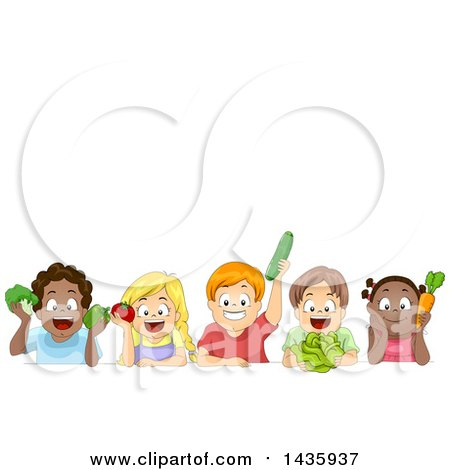 Clipart of School Children Holding Produce Under Text Space - Royalty Free Vector Illustration by BNP Design Studio