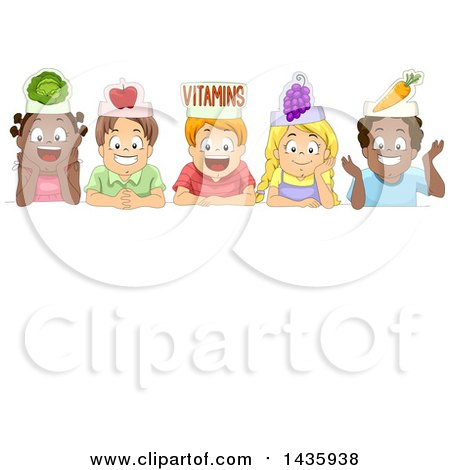 Clipart of School Children over a Sign with Vegetable Hats - Royalty Free Vector Illustration by BNP Design Studio