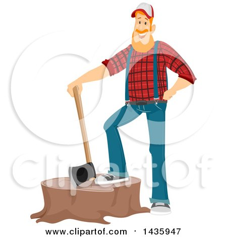 Clipart of a Red Haired White Male Lumberjack Resting a Foot on a Stump, with an Axe - Royalty Free Vector Illustration by BNP Design Studio