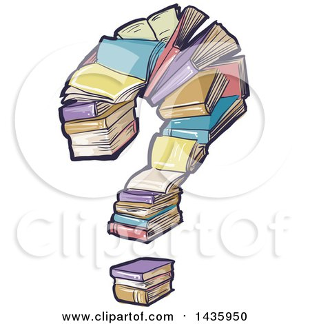 Clipart of a Question Mark Made of Books - Royalty Free Vector Illustration by BNP Design Studio