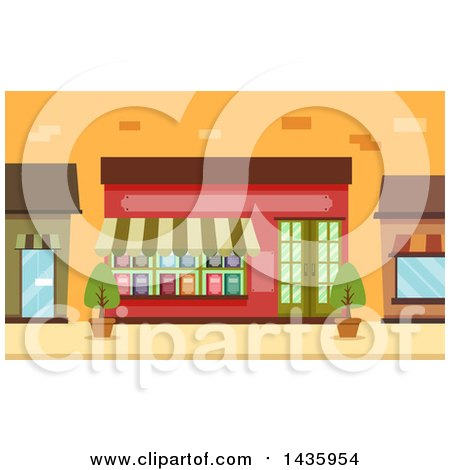 Clipart of a Book Shop Storefront - Royalty Free Vector Illustration by BNP Design Studio