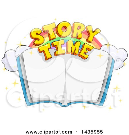 Clipart of a Rainbow and Story Time Text over an Open Book - Royalty Free Vector Illustration by BNP Design Studio
