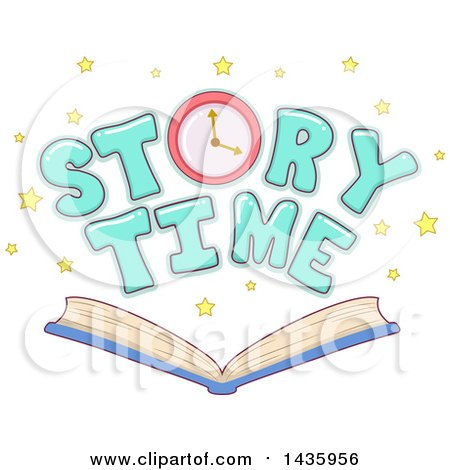 Clipart of a Clock and Story Time Text with Stars over an Open Book - Royalty Free Vector Illustration by BNP Design Studio