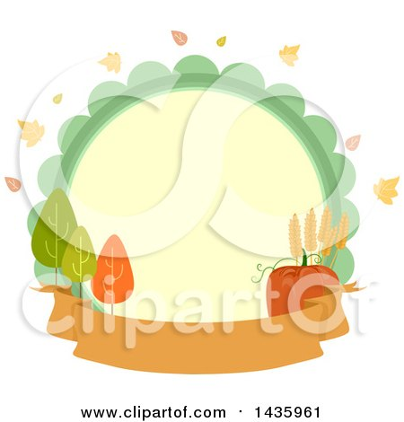 Clipart of a Circle Label with Autumn Leaves, Trees, Wheat and a Pumpkin over a Banner - Royalty Free Vector Illustration by BNP Design Studio