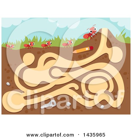 Clipart of a Maze with Fire Ants - Royalty Free Vector Illustration by BNP Design Studio