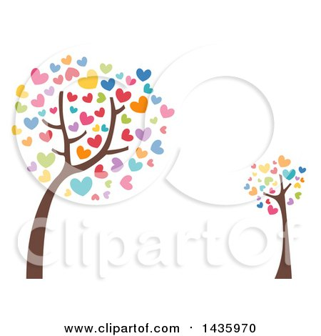 Clipart of Leaning Trees with Colorful Heart Foliage - Royalty Free Vector Illustration by BNP Design Studio