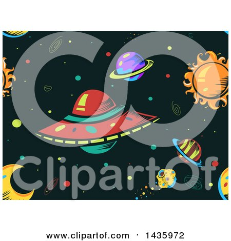 Clipart of a Seamless Ufo and Outer Space Background - Royalty Free Vector Illustration by BNP Design Studio