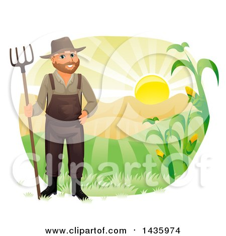 Clipart of a Happy Male Farmer in Overalls, Holding a Rake Against Hills and a Sunrise - Royalty Free Vector Illustration by BNP Design Studio