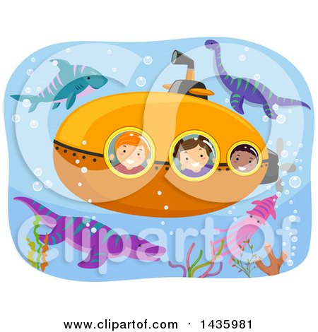 Clipart of a Submarine with Children Surrounded by Dinosaurs - Royalty Free Vector Illustration by BNP Design Studio