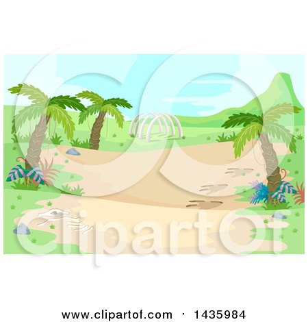 Clipart of a Prehistoric Landscape with Palm Trees and Dinosaur Ribs - Royalty Free Vector Illustration by BNP Design Studio