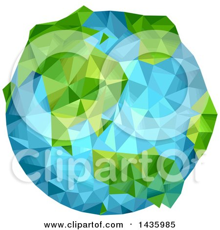 Clipart of a Geometric Planet Earth - Royalty Free Vector Illustration by BNP Design Studio