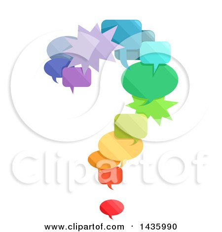 Clipart of a Question Mark Made of Colorful Speech Bubbles - Royalty Free Vector Illustration by BNP Design Studio