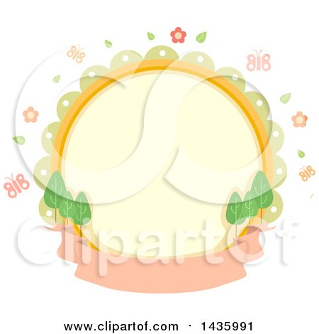Clipart of a Round Label with Spring Flowers, Butterflies and Trees over a Banner - Royalty Free Vector Illustration by BNP Design Studio