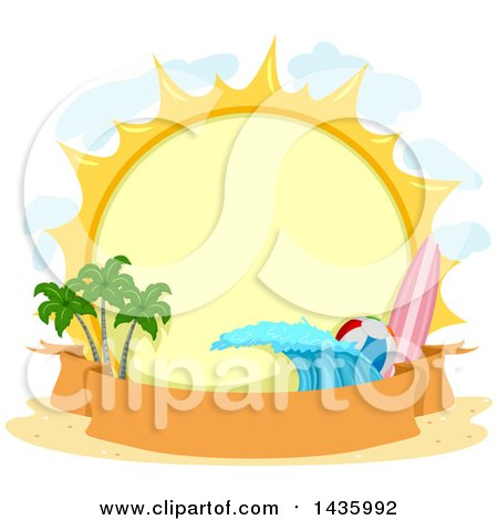 Round Summer Sun Label with a Surfboard, Beach Ball, Wave, and Palm Trees over a Banner Posters, Art Prints