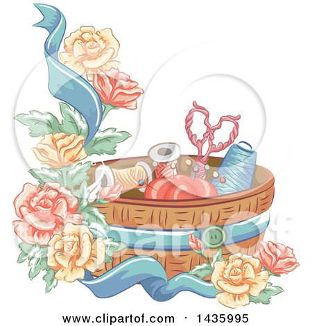 Clipart of a Sewing Basket, Ribbon and Roses - Royalty Free Vector Illustration by BNP Design Studio