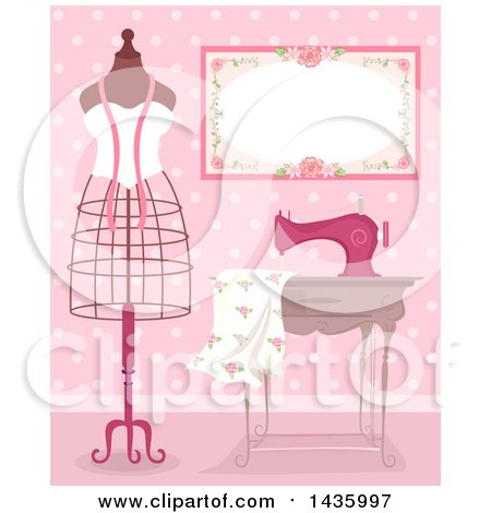 Clipart of a Metal Frame Mannequin by a Sewing Machine and Dress Fabric in a Pink Room - Royalty Free Vector Illustration by BNP Design Studio
