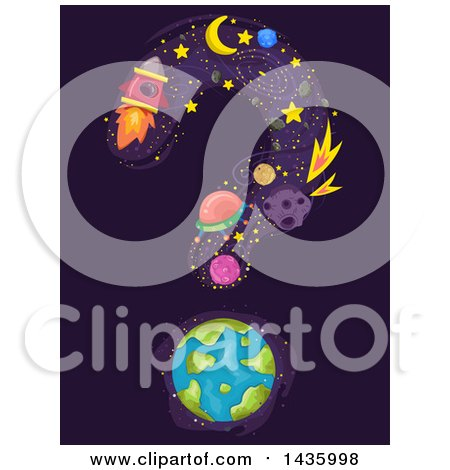 Clipart of Science and Astronomy Icons with Earth, Forming a Question Mark - Royalty Free Vector Illustration by BNP Design Studio