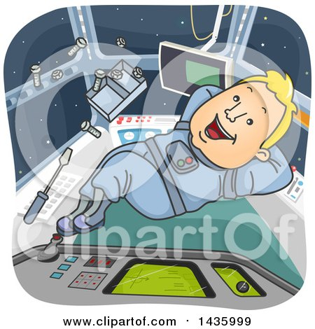 Clipart of a Cartoon Happy Blond White Male Astronaut Floating Inside a Spacecraft - Royalty Free Vector Illustration by BNP Design Studio