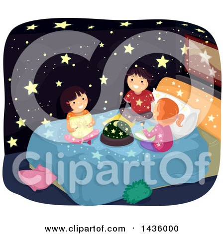 Clipart of Children Sittingon a Bed with a Constellation Light Dome - Royalty Free Vector Illustration by BNP Design Studio