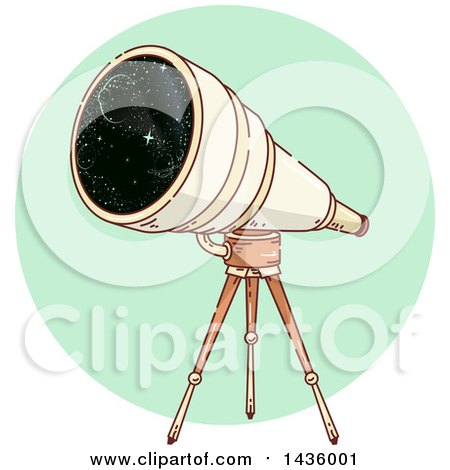 Clipart of a Sketched Telescope on a Tripod, over a Green Circle - Royalty Free Vector Illustration by BNP Design Studio