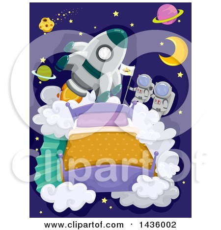 Clipart of a Rocket and Astronauts Above a Bead, with Planets - Royalty Free Vector Illustration by BNP Design Studio