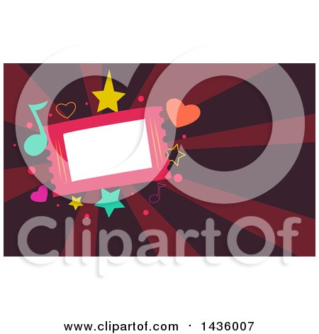 Clipart of a Ticket with Music Notes and Shapes over Rays - Royalty Free Vector Illustration by BNP Design Studio